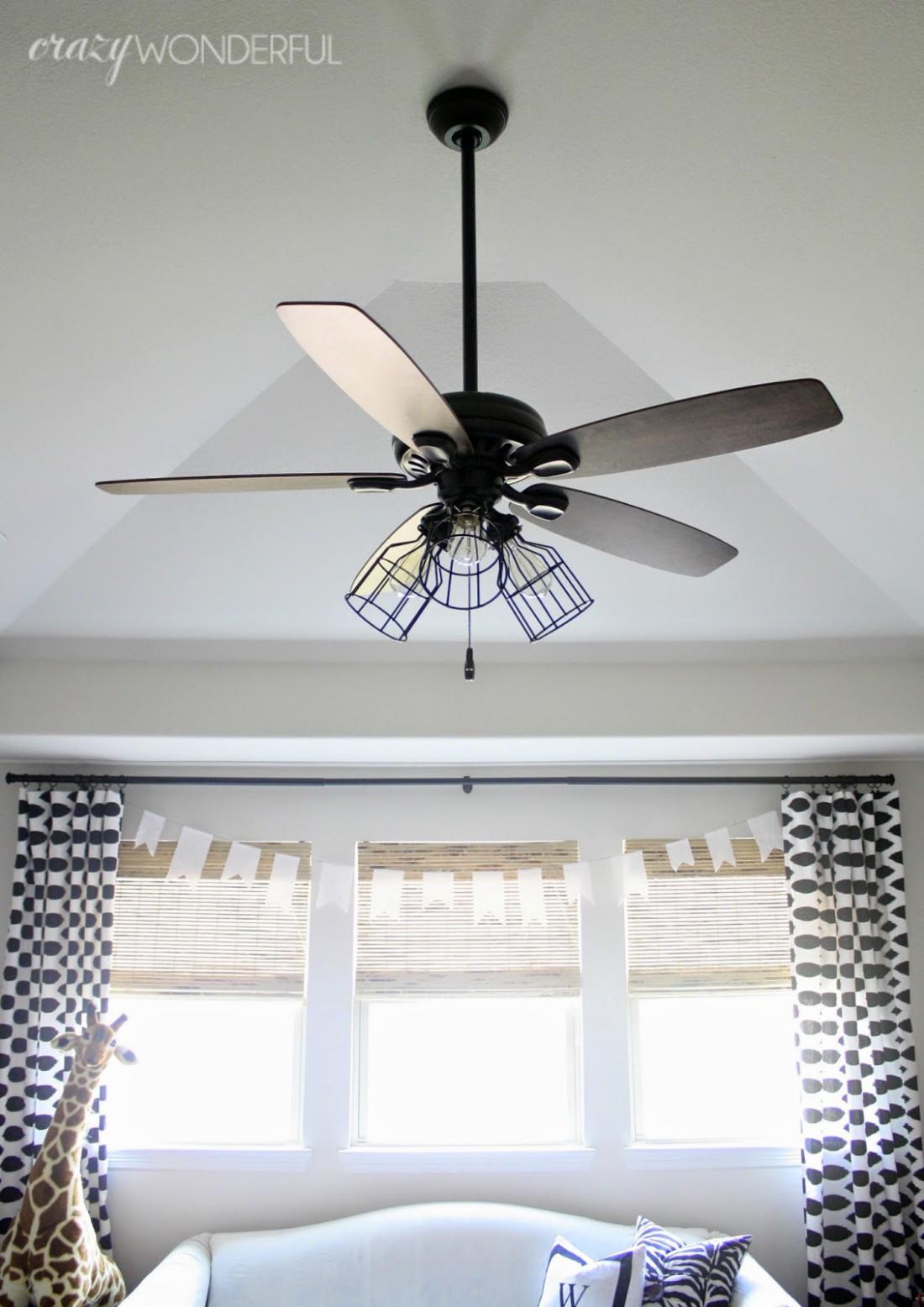 diy cage light ceiling fan crazy wonderful. Black Bedroom Furniture Sets. Home Design Ideas