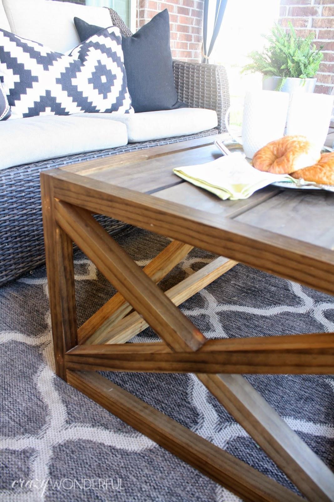 diy x base coffee table crazy wonderful. Black Bedroom Furniture Sets. Home Design Ideas