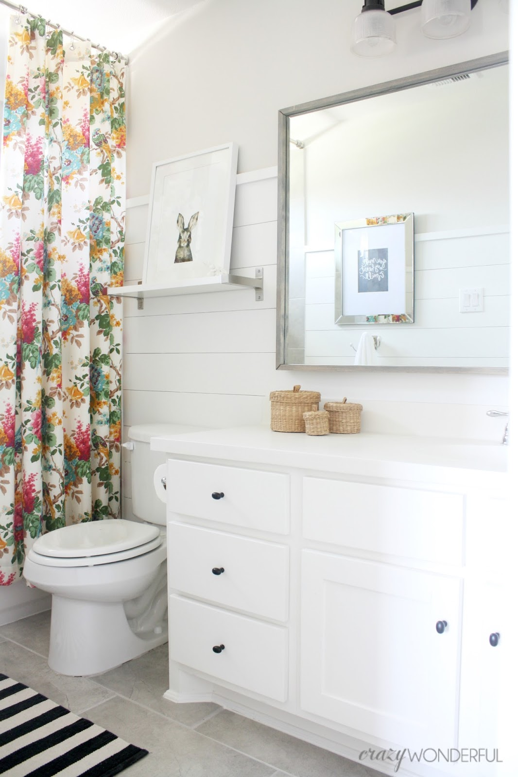 Shiplap girl 39 s bathroom reveal crazy wonderful for Bathroom photos of ladies