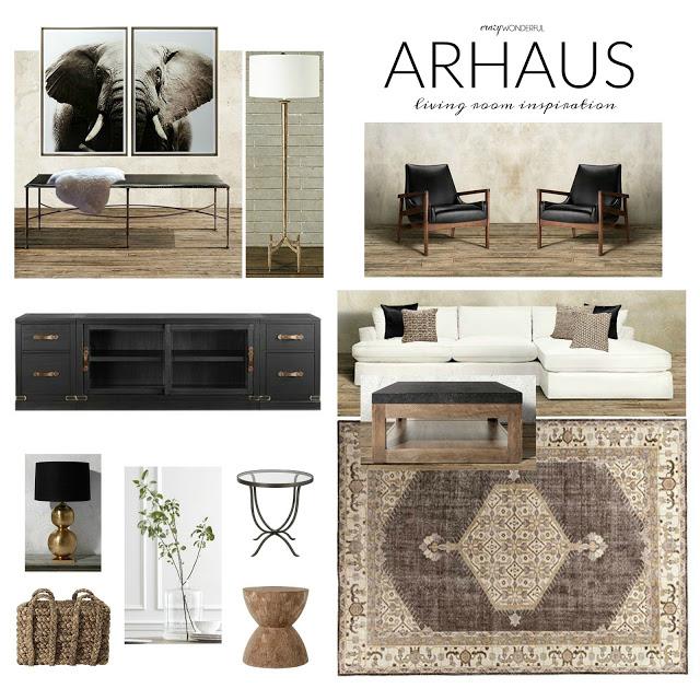 arhaus living room design board