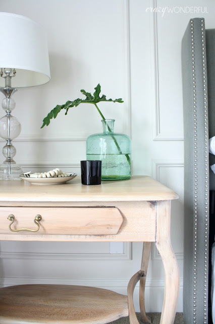 bedside table makeover with liming wax