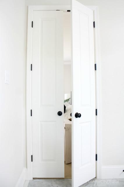 black door hinges installed
