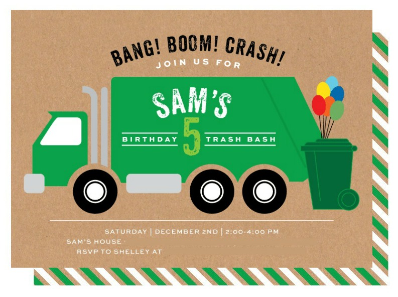 Garbage truck birthday party invitations crazy wonderful related filmwisefo Image collections